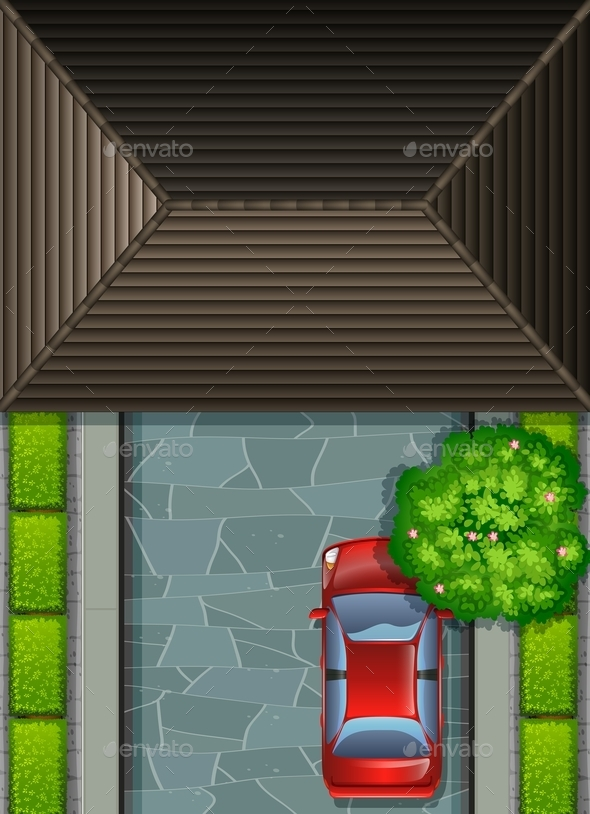 Garage Rooftop and Red Car - Miscellaneous Vectors