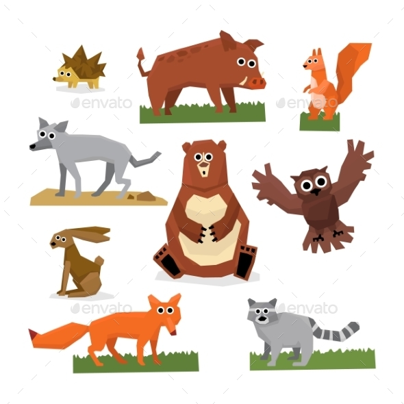 Wild Forest Animals Flat Style Set - Animals Characters