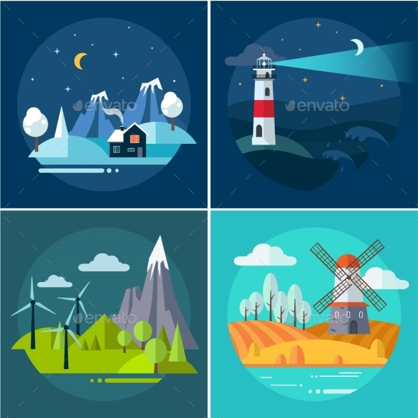 Mountains and Water Landscape Illustrations Set - Landscapes Nature