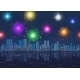 Seamless Night City Landscape with Fireworks - GraphicRiver Item for Sale
