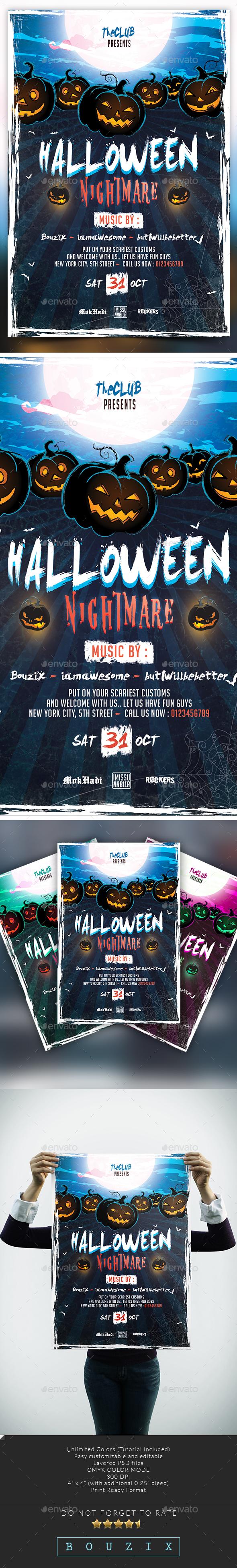 Halloween Nightmare - Flyers Print Templates