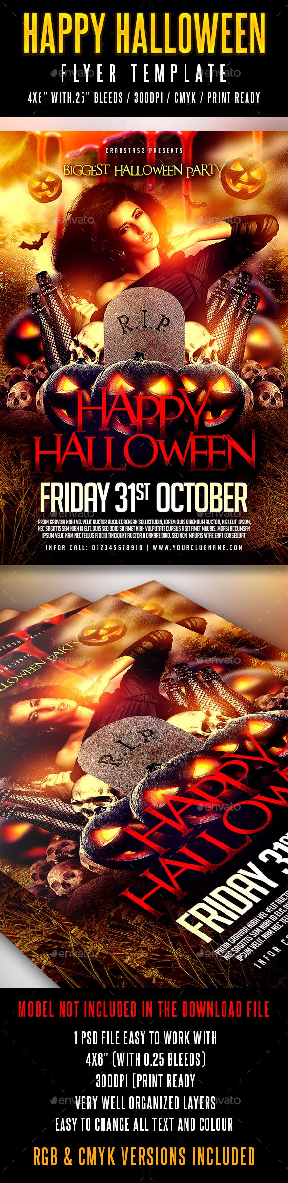 Happy Halloween Flyer Template - Flyers Print Templates