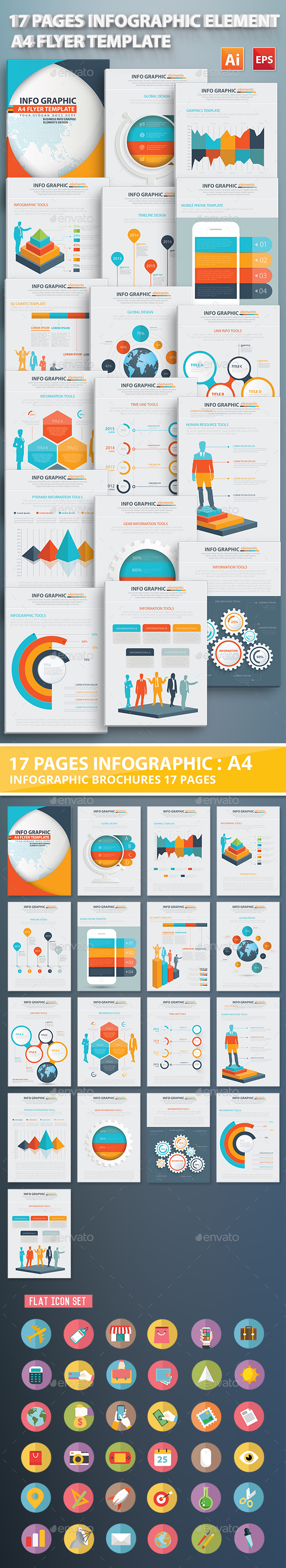 17 Pages Info Graphic Elements Design