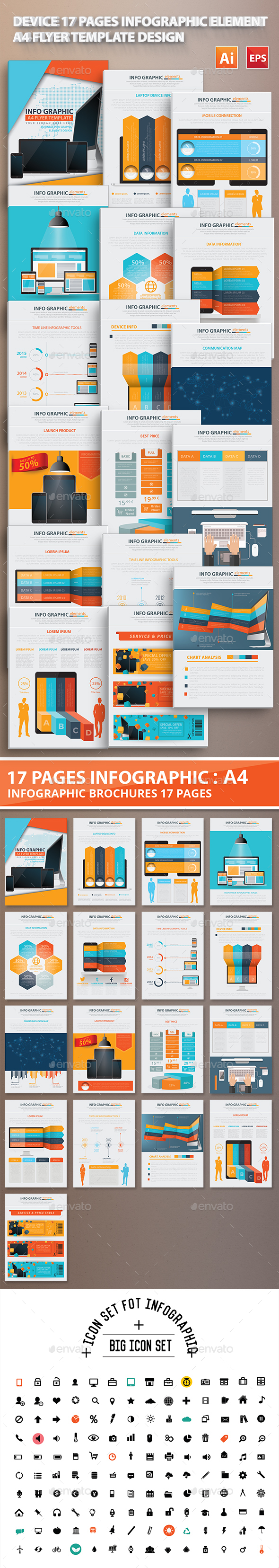 Device 17 Pages Info Graphic Elements Design - Infographics
