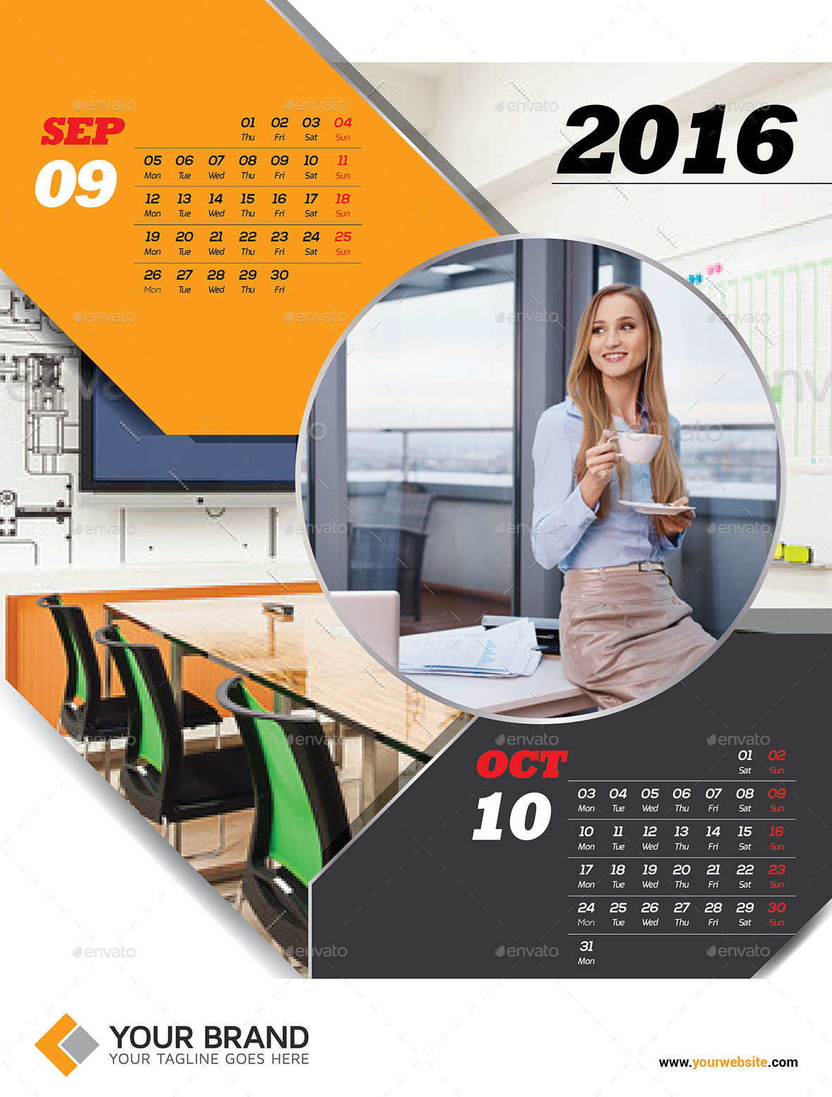 Corporate Wall Calendar Design Templates : Wall calendar by olaylay graphicriver
