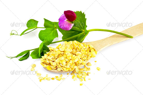 Pea flakes in a spoon with a flower - Stock Photo - Images