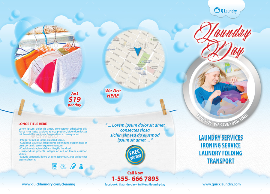 Laundry day services 3 fold brochure 30 by 21min for Ironing service flyer template