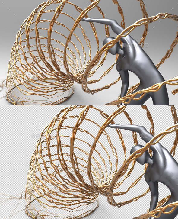 Creative 3D Muscles Man Inside Loop Circles