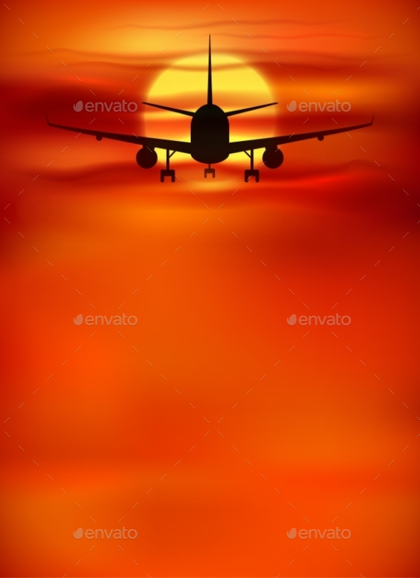 Orange Sunset Background with Black Plane