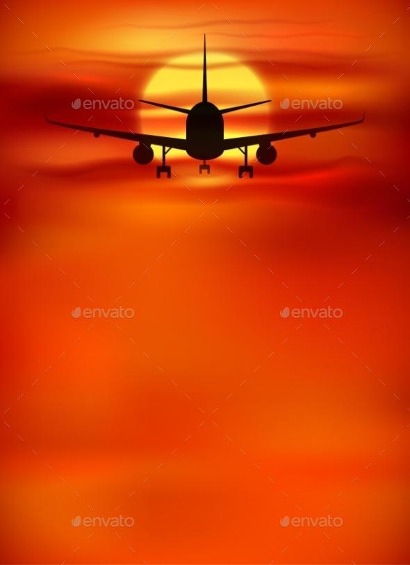 Orange Sunset Background with Black Plane - Travel Conceptual