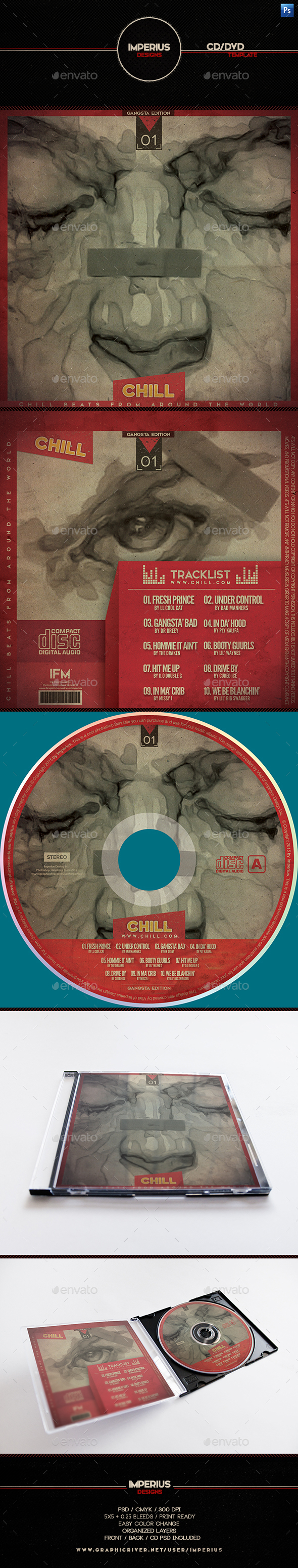 Chill CD/DVD Cover - CD & DVD Artwork Print Templates