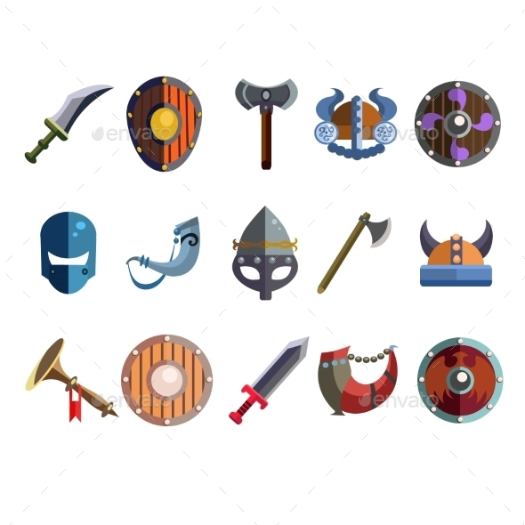 Viking Cartoon Weapon and Equipment - Miscellaneous Vectors