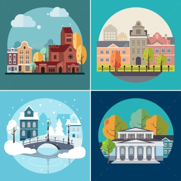 City and Town Buildings Landscapes - Miscellaneous Vectors