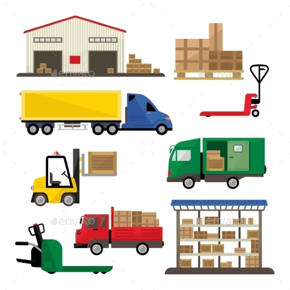 Warehouse Transportation and Delivery Icons Flat - Miscellaneous Vectors