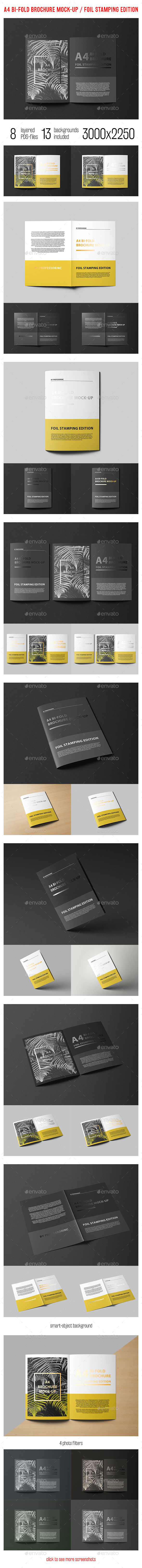 A4 Bi-Fold Brochure Mock-Up Foil Stamping Edition - Brochures Print