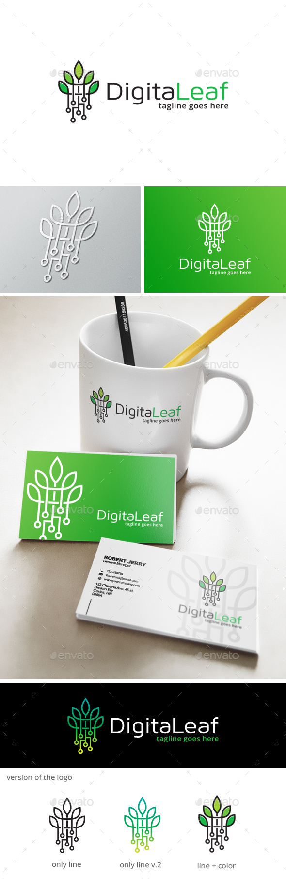 Green Digital Logo - Nature Logo Templates