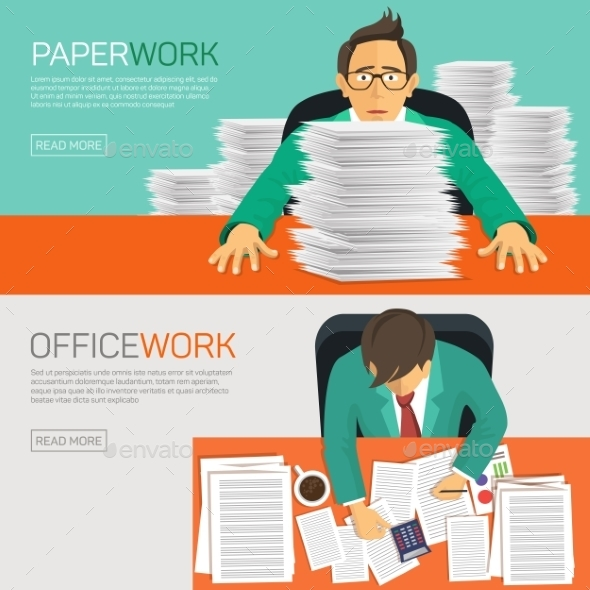 Busy Businessman Working with Paperwork - Concepts Business