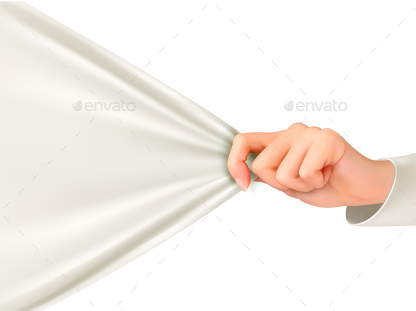 Hand Tugging a White Cloth with Space for Text