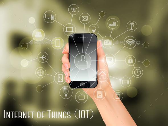 Hand Holding A Smartphone Revealing A Net - Web Technology