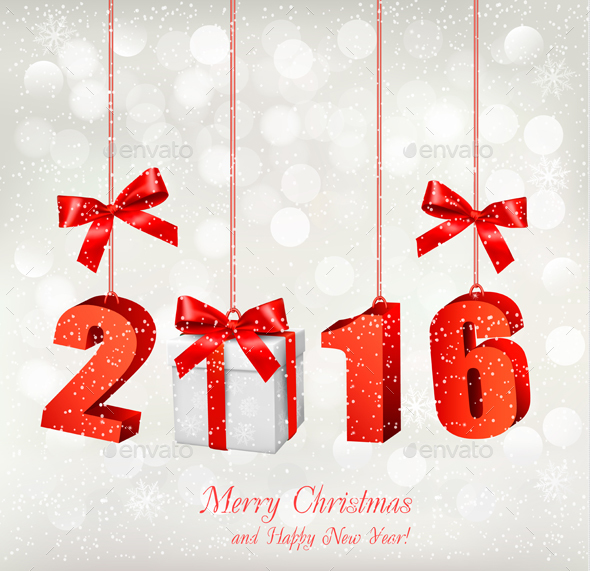 2016 New Years Background with Gift - New Year Seasons/Holidays