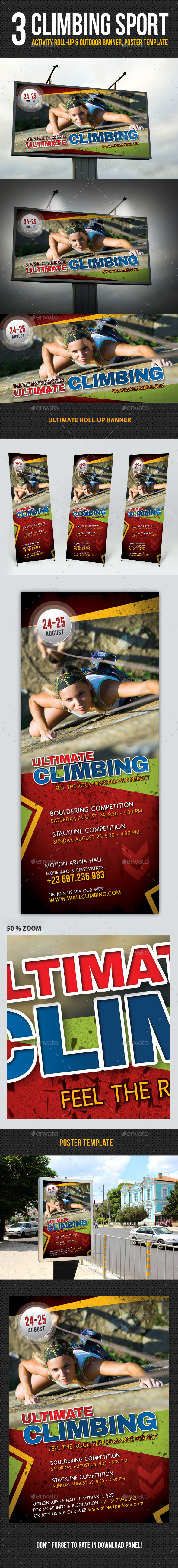 3 in 1 Climbing Sport Activity Banner Bundle - Signage Print Templates