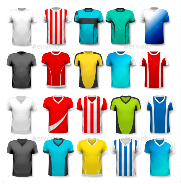 Collection of Various Soccer Jerseys - Sports/Activity Conceptual