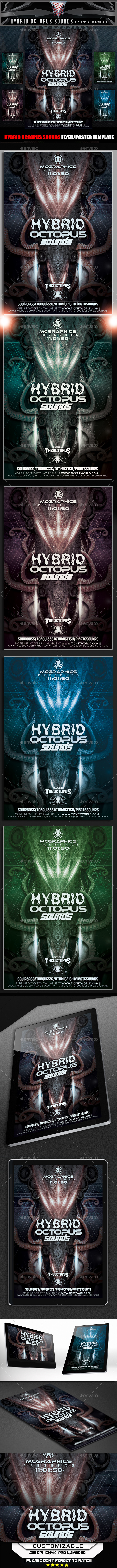 Hybrid Octopus Sounds Flyer Template - Flyers Print Templates