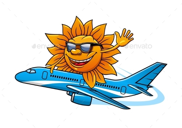 Cartoon Sun in Sunglasses Flying on Airplane
