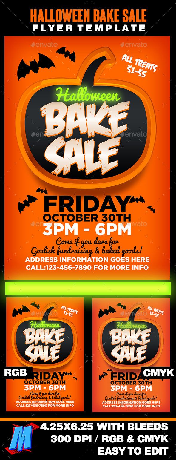 Halloween Bake Sale Flyer Template - Events Flyers