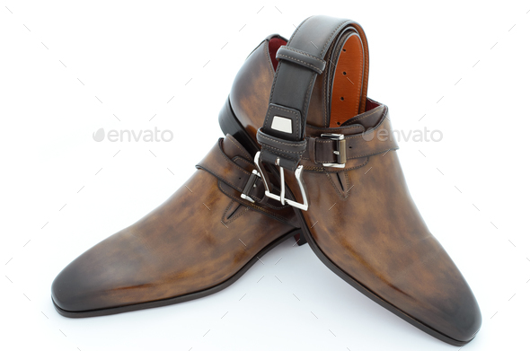 Luxury brown leather shoes and belt - Stock Photo - Images