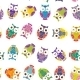 Seamless Pattern - Bright Colorful Owls On White - GraphicRiver Item for Sale