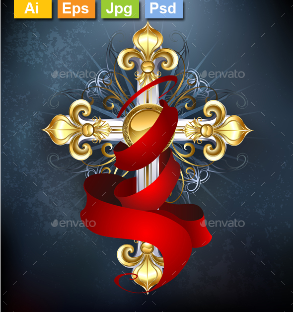 Cross with a Red Ribbon - Decorative Symbols Decorative