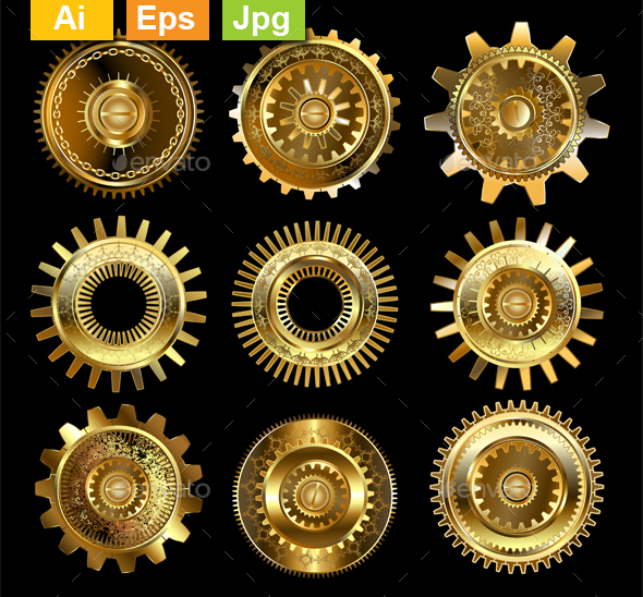 Set of Complex Gears - Miscellaneous Vectors