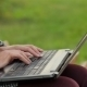Girl Working On Laptop In The City Park - VideoHive Item for Sale