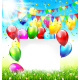 Paper Frame Buntings Balloons Grass Confetti Sun - GraphicRiver Item for Sale