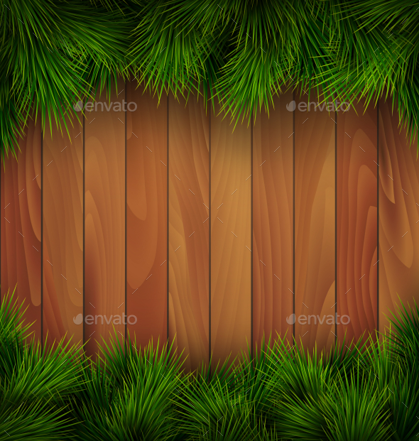 Christmas Tree Pine Branches on Wooden Background
