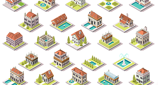 3D Buildings Isolated Items Game Insight Collection