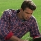 Male Relaxing In His Garden Using Laptop - VideoHive Item for Sale