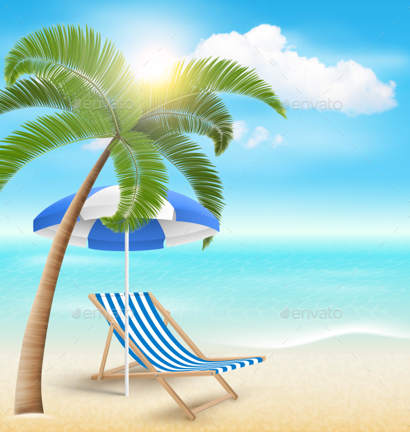 Beach with Palm Cloud Sun Beach Umbrella and Chair - Nature Conceptual
