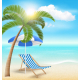 Beach with Palm Cloud Sun Beach Umbrella and Chair - GraphicRiver Item for Sale