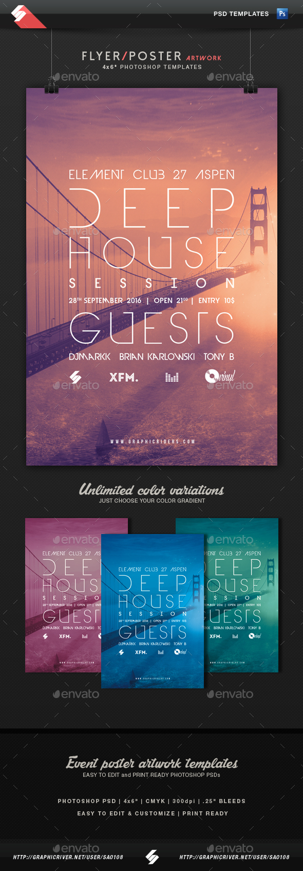 Deep House Session 6 - Party Flyer Template - Clubs & Parties Events