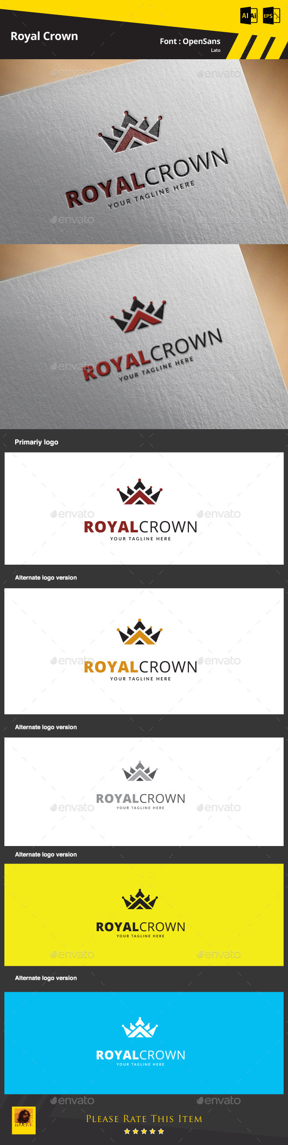 Royal Crown Logo Template - Objects Logo Templates