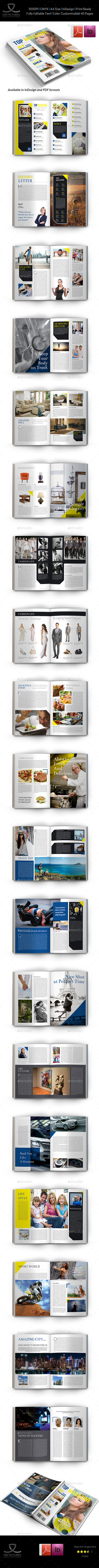 Top Magazine Template - 40 Pages - Magazines Print Templates