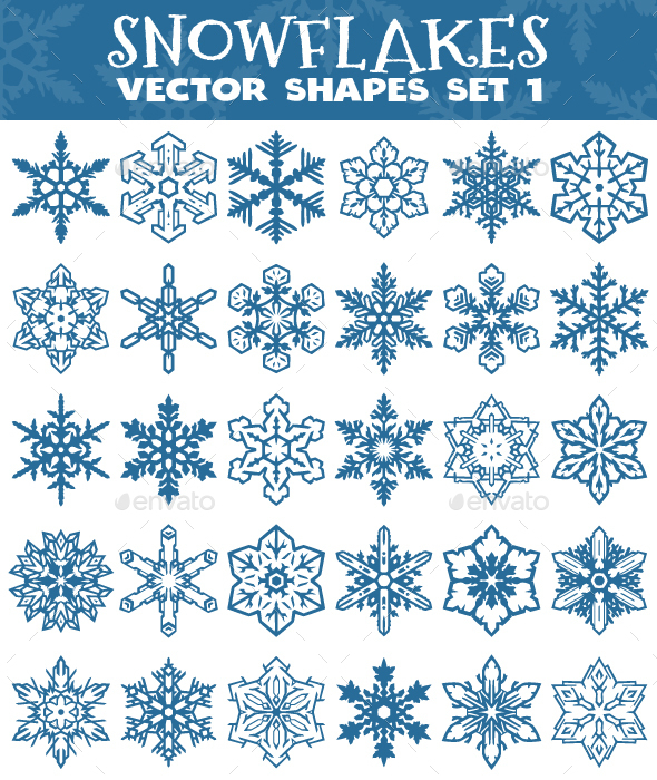 Decorative Snowflakes Vector Shapes Set 1 - Decorative Vectors
