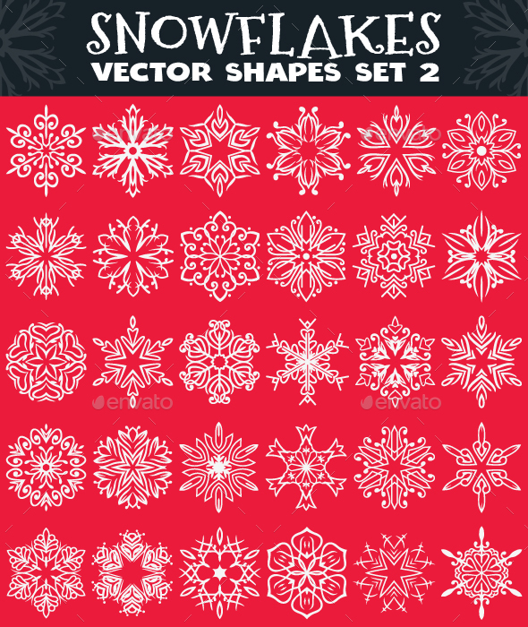 Decorative Snowflakes Vector Shapes Set 2