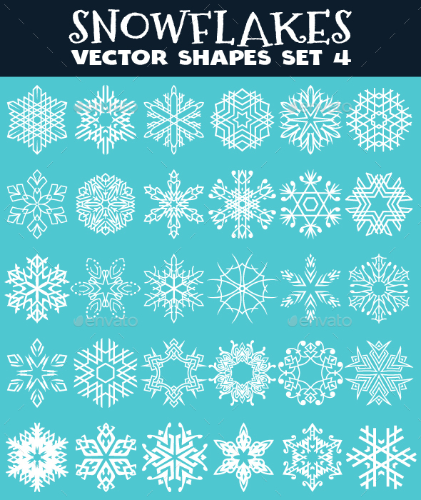 Decorative Snowflakes Vector Shapes Set 4 - Decorative Vectors