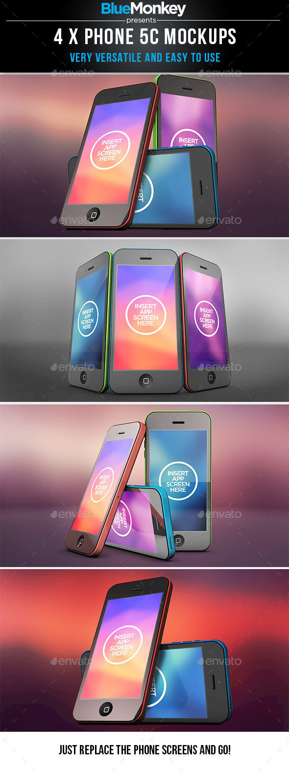 4 unique Phone 5C mockup compositions