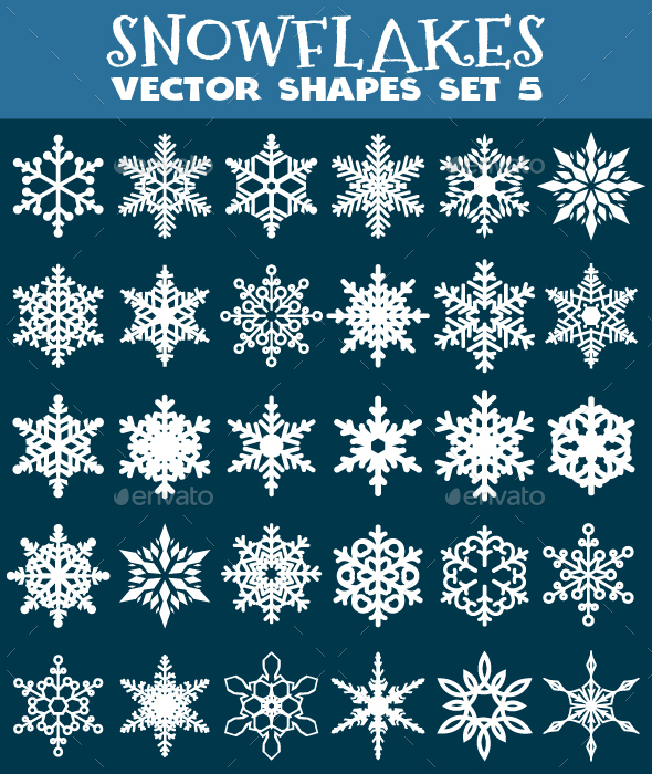 Decorative Snowflakes Vector Shapes Set 5