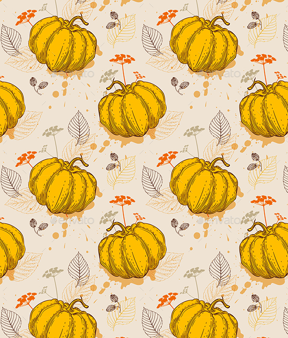 Pattern with Orange Pumpkin and Leaves - Patterns Decorative