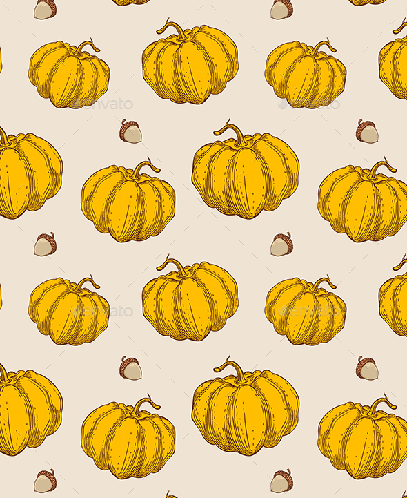 Seamless Pattern with Orange Pumpkin